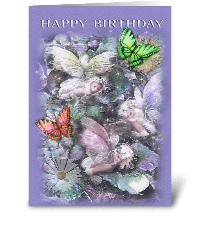 Sleeping Garden Fairies ,Happy  Birthday greeting card