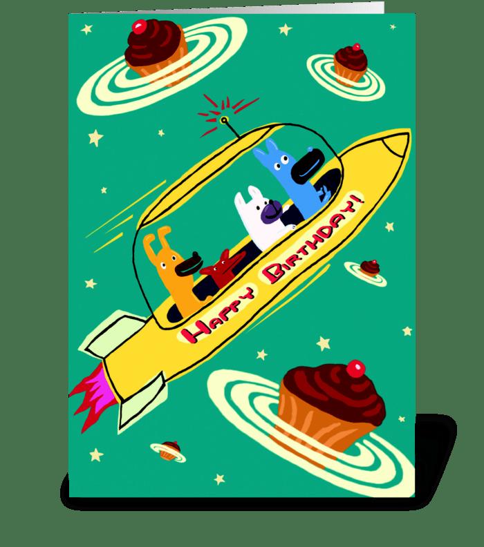 Yellow Rocket Ship Birthday greeting card