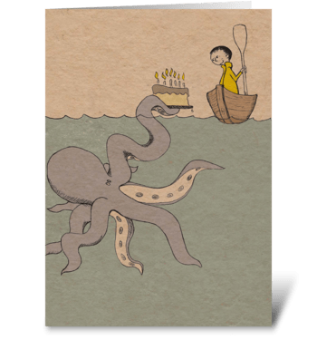 Octopus Birthday greeting card