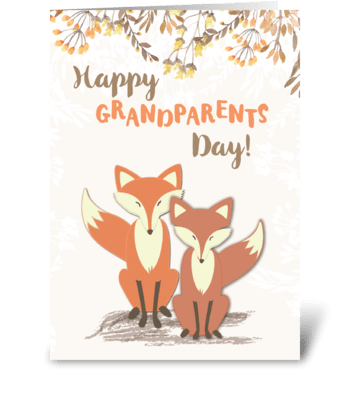 Grandparents Day, Foxes greeting card