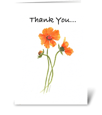 Orange Cosmos greeting card