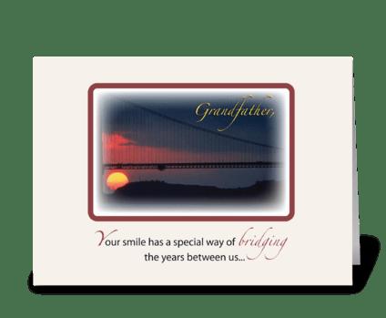 Grandfather Bridge Grandparent's Day greeting card