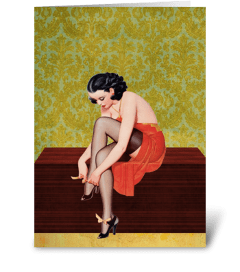 Sexy Woman in Red Father's Day Card greeting card