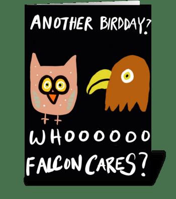 Whooo Falcon Cares? greeting card