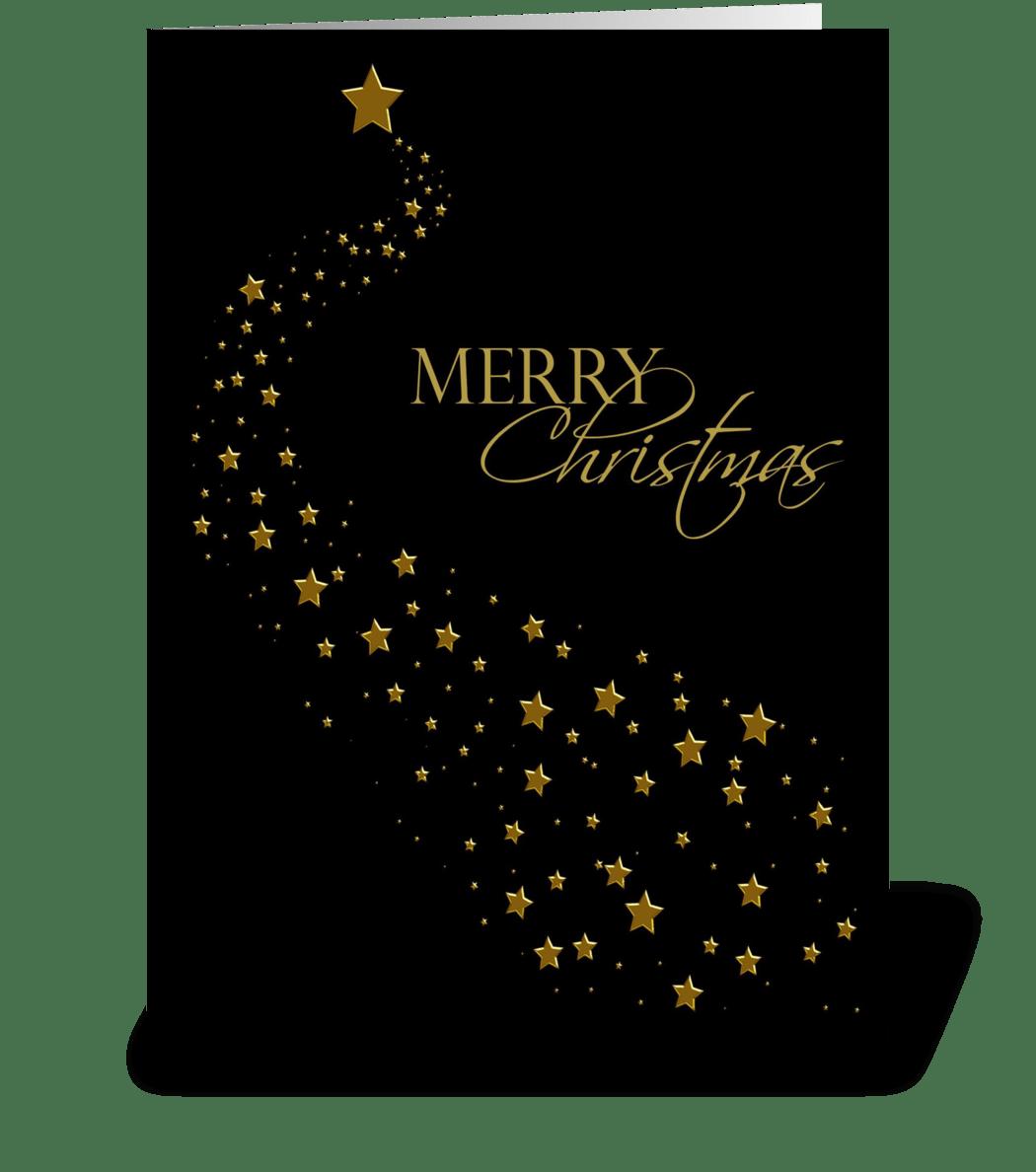 Christmas Greetings Card.Gold Stars Black Christmas Greeting
