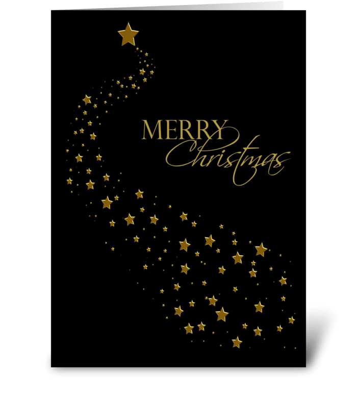 Gold Stars, Black, Christmas Greeting greeting card