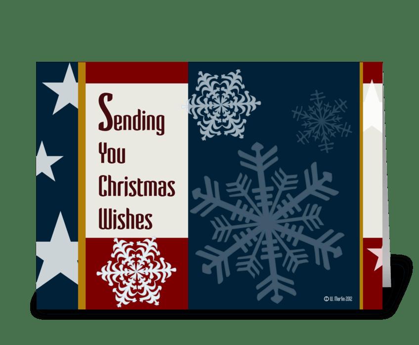 Patriotic Christmas.Retro Patriotic Christmas Card