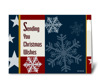 Retro Patriotic Christmas Card greeting card