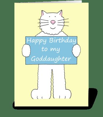 Happy Birthday Goddaughter cute cat. greeting card