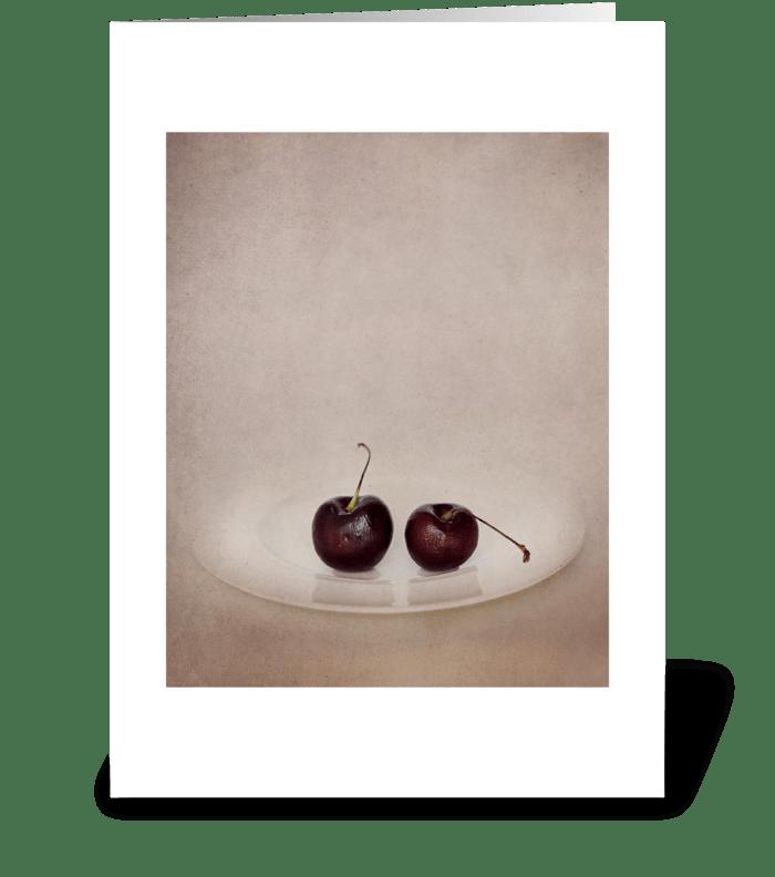 Cherries greeting card