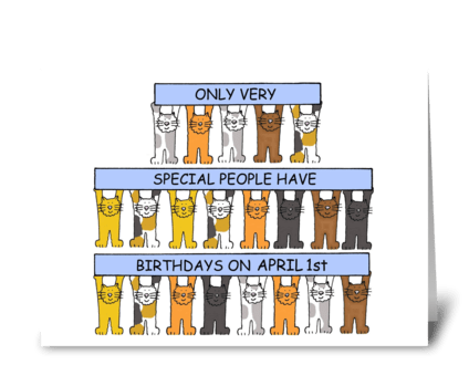 April 1st Birthday Fun Cats Greeting Card