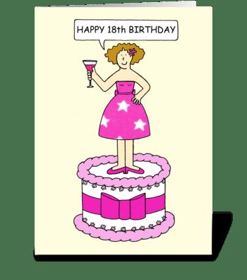 Happy 18th Birthday Lady on a Cake greeting card