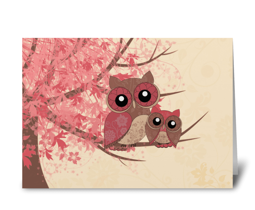 Mother and owlet greeting card