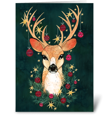 Christmas Ornament Deer greeting card