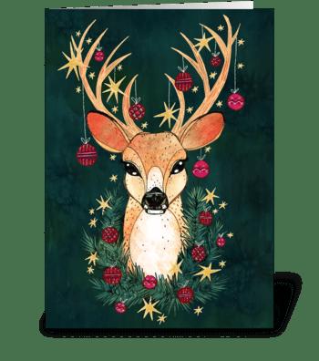 Christmas Ornament Deer greeting card