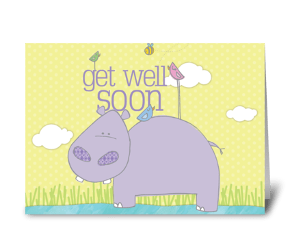 Get Well Soon Hippo greeting card