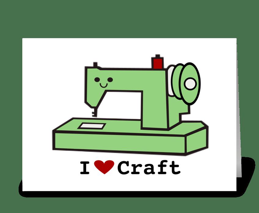 I Love Craft- Retro Sewing Machine greeting card