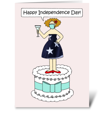 July 4th Covid 19 Cartoon Lady on a Cake greeting card