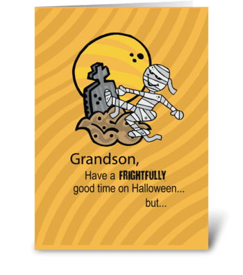 Grandson, Frightful Mummy Halloween greeting card