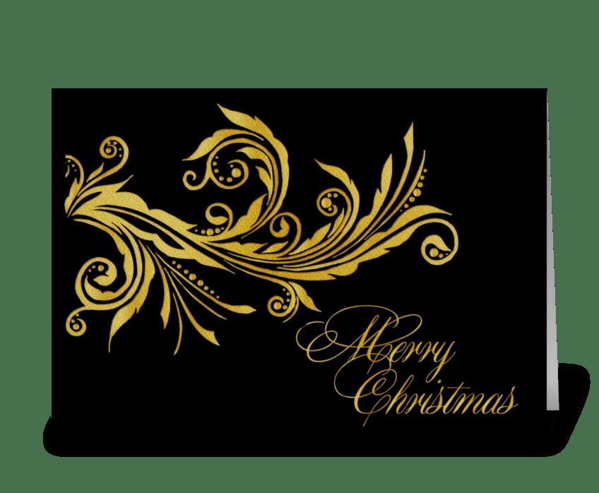 Christmas Greeting Cards Design.Elegant Gold Flourish Merry Christmas