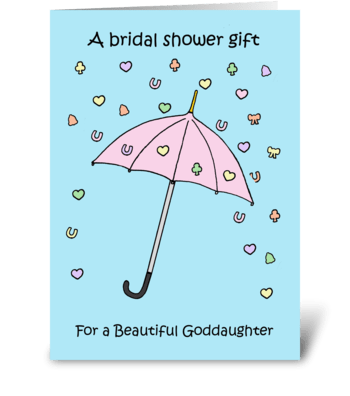 Goddaughter Bridal Shower Gift.  greeting card