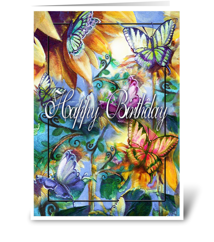 colorful Butterflies, Birthday Greeting greeting card