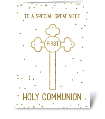 Great Niece First Holy Communion Gold Lo greeting card