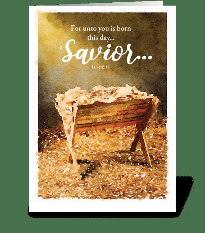 Christmas Manger greeting card