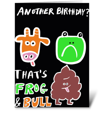 Frog and Bull greeting card
