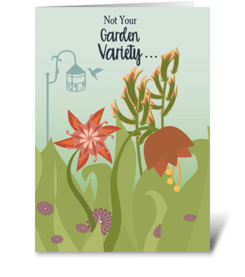 Floral Garden with Hummingbird Thank You greeting card