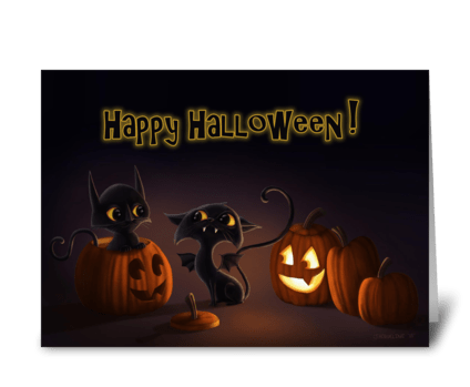 Bat Cat Halloween! greeting card