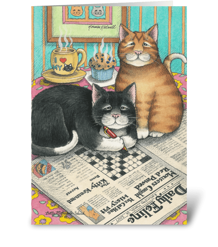 Crossword Cats Birthday #12 greeting card