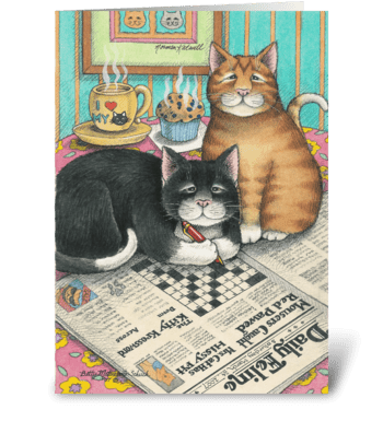 Crossword Cats Birthday #12 greeting card