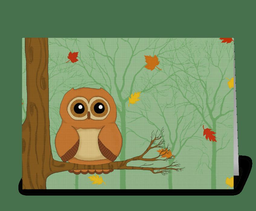 Cute Autumn Owl greeting card