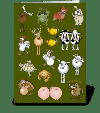 Lots of cartoon animals greeting card