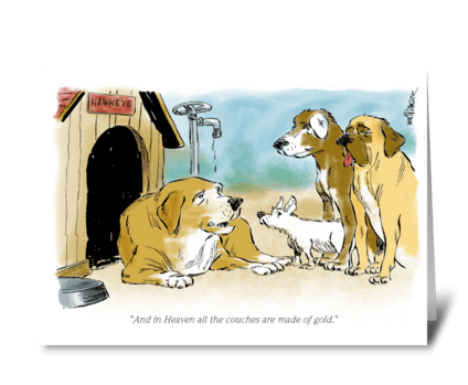 Golden couch greeting card