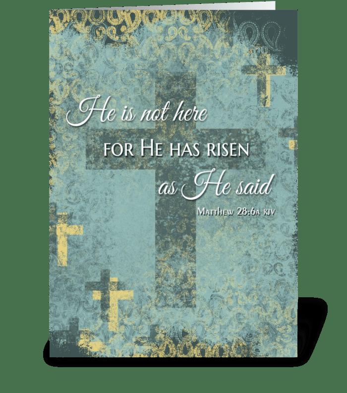 He is Risen! Easter cross & bible verse  greeting card