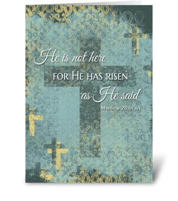 He is Risen! Easter cross & bible verse  greeting card