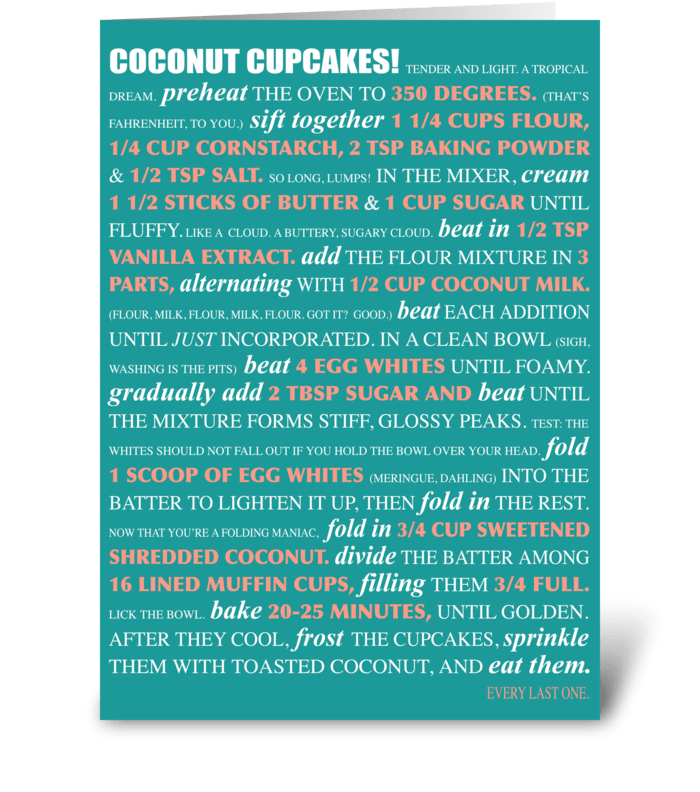 Bakeable Greetings: Coconut Cupcakes greeting card