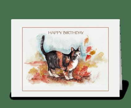 Kitty ART, Happy Birthday greeting card