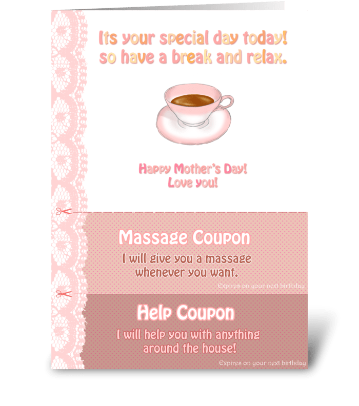 Tea Time for Mom greeting card