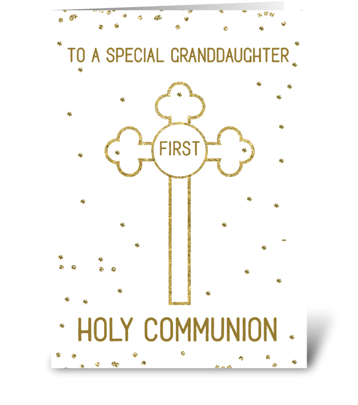 Granddaughter First Holy Communion Gold  greeting card