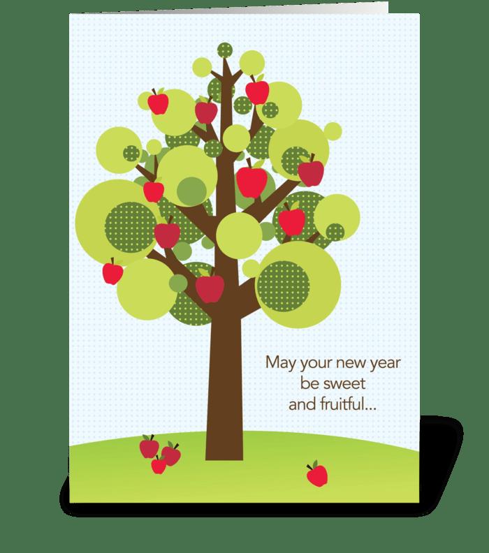 Fruitful apple tree greeting card