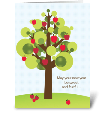 Fruitful apple tree greeting card