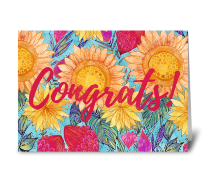Congrats Sunflowers greeting card