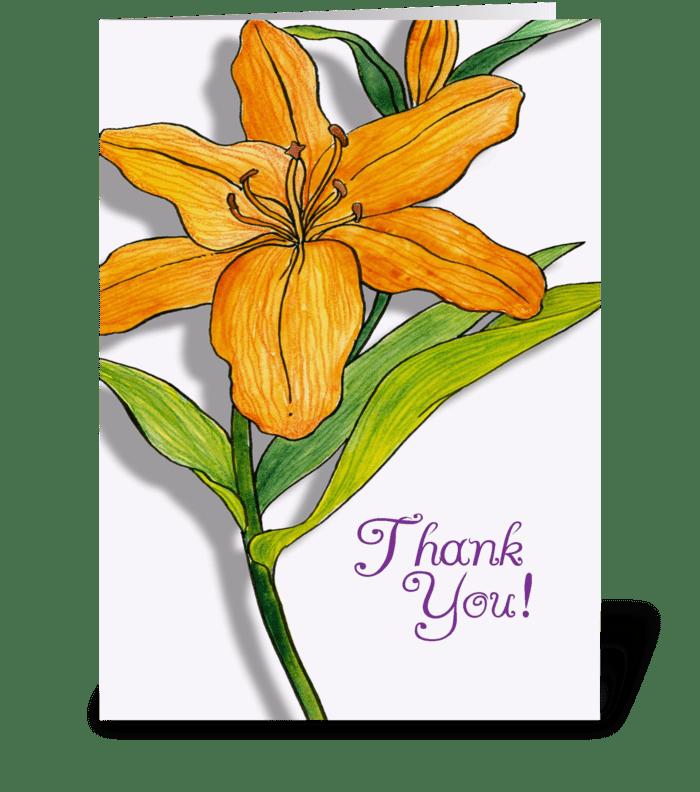 Orange Lily Thank You greeting card