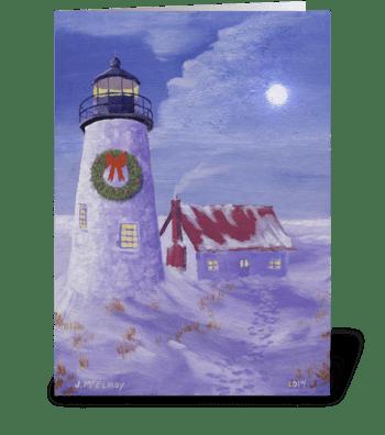 Lighthouse Christmas greeting card
