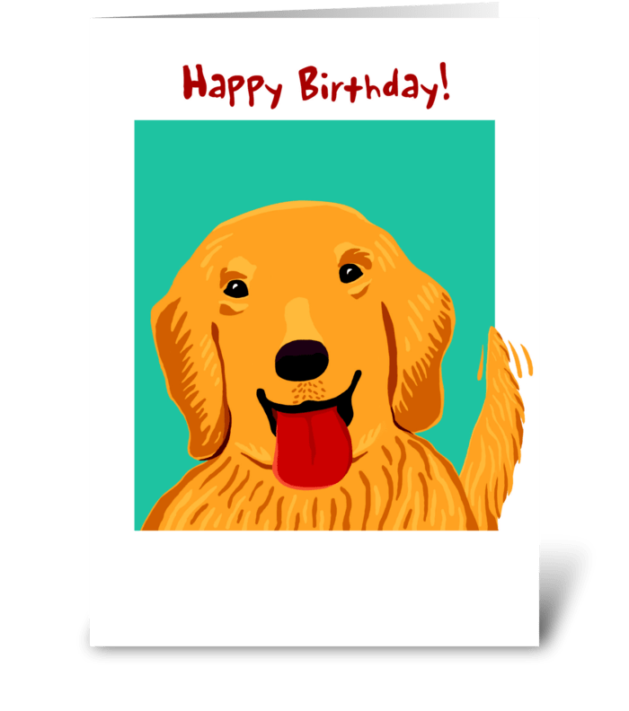 Golden Retreiver Birthday greeting card