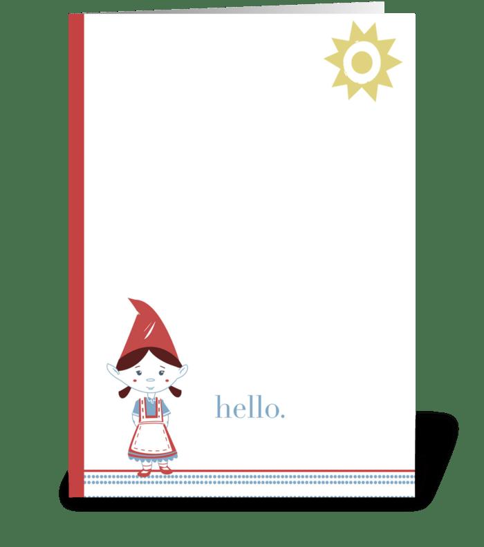 Gnome Hello greeting card