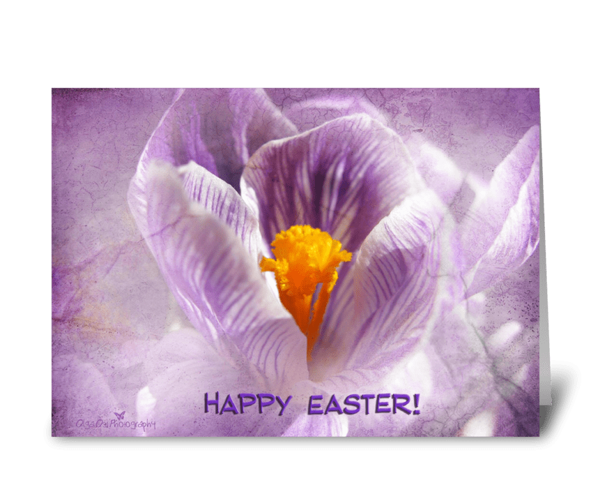 Happy Easter with crocus greeting card